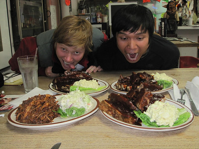 Will & Amanda at Berry's BBQ.  Yes, Will ate his order of beef ribs.