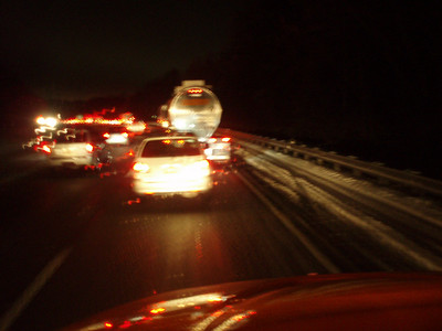 January 29, 2010: South of Chattanooga TN. Ice on the roads. Traffic backed up for miles. We saw several accidents.