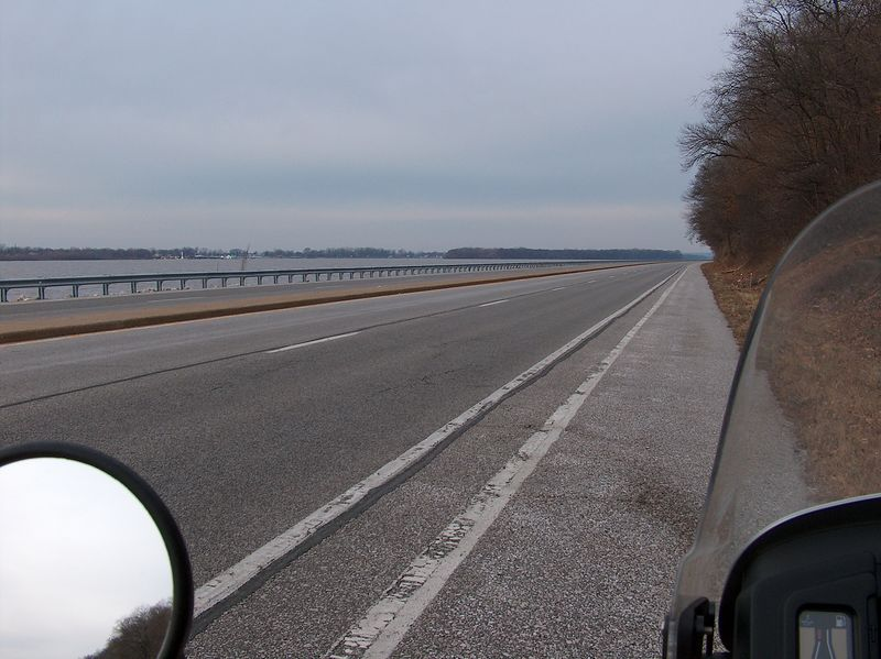 "I finally get out on the road by about 9 AM. It was about 20 degrees and by time I make it to Alton. I'm thinking that  the 3"" of snow we were focast to get would stick and I wouldn't be able to get back home in time for my nieces wedding  the next day. So instead of going up 67 like I had planned  I take the river road. I figure I'd ride over to Pier Marquette Park  and make a day of it  in that area of the world."
