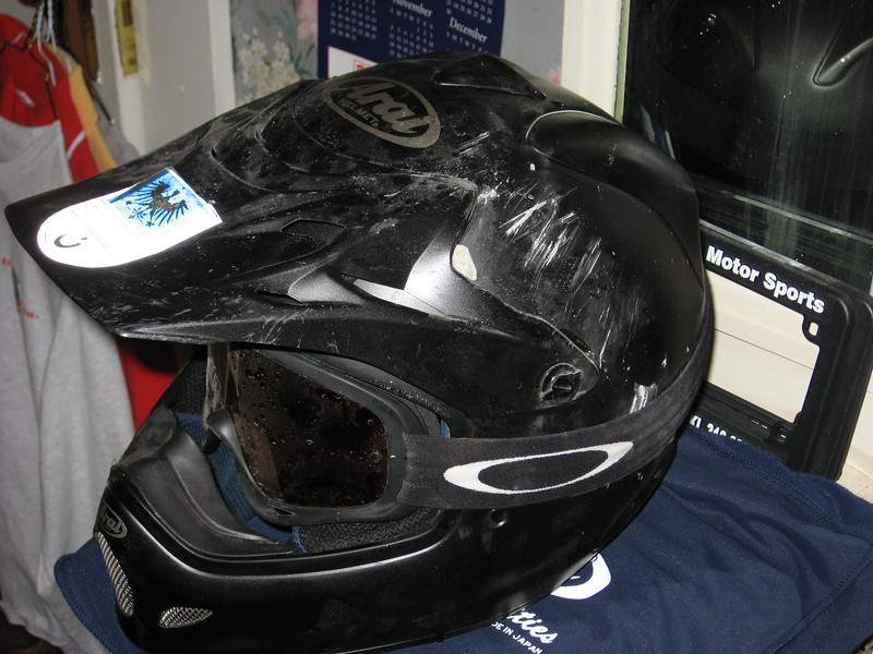 Brand new Arai (Uh-Rye) VX Pro 3, purchased two weeks before accident for $436.99. I also was wearing a Joe Rocket mesh jacket with pads, Gericke padded riding pants, Sidi boots, and Alpinestar gauntlet gloves. This stuff saved my ass.