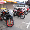 Mike's Aprilia Tuono with other guests' bikes
