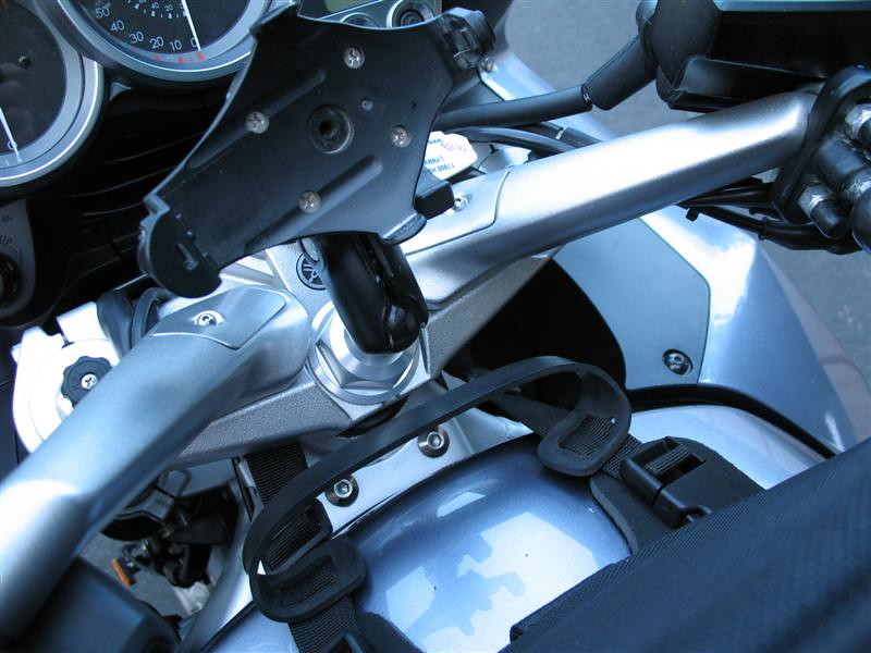 """Motorcycle Larry supplied the GPS mount for the Garmin on a RAM ball.  You need a big 36mm socket to do the maintenance on your steering head anyway, so his big nut mount is cool.<br /> <br />  <a href=""""http://www.motorcyclelarry.com/fjr1300tcnut.aspx"""">http://www.motorcyclelarry.com/fjr1300tcnut.aspx</a>"""