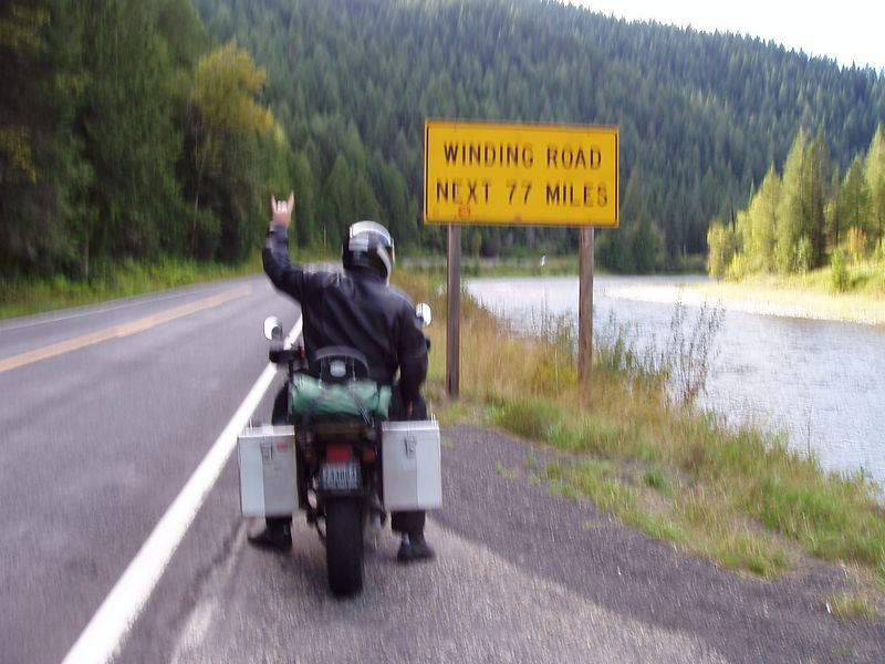 Sorry for the blurry, but ya gets the idea.<br /> US-12 after already riding 30 miles of goodness