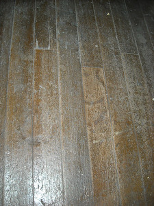 Hoofprints on the floorboards inside the original Lincoln County Courthouse - Pioche, NV