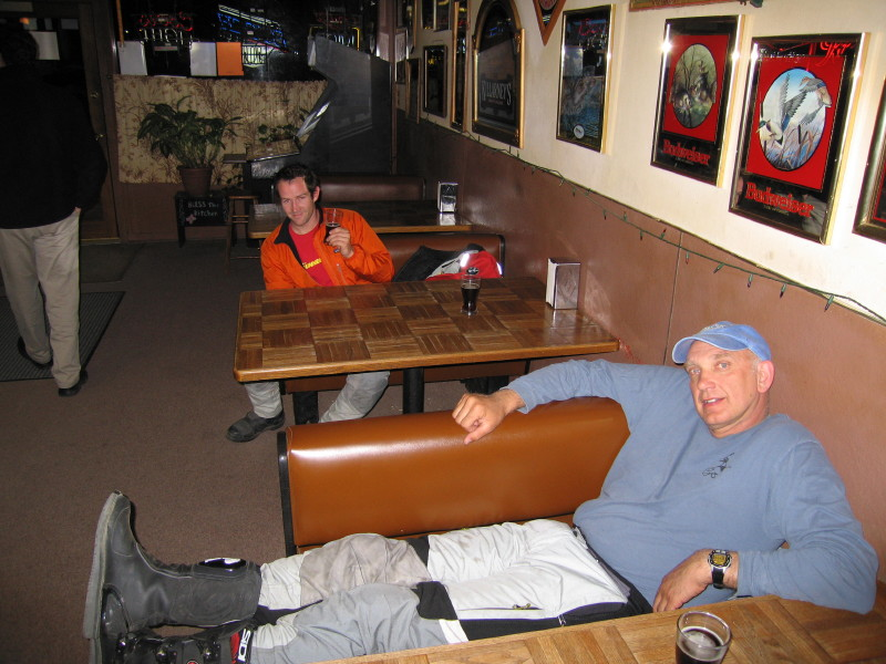 A last beer in the (only) Odessa tavern before heading back to our tents. Kevin and Steve taking it easy.
