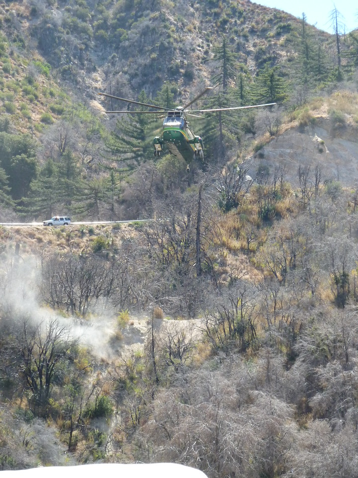 Los Angeles Rescue 5 helicopter coming in to land on Angeles Crest