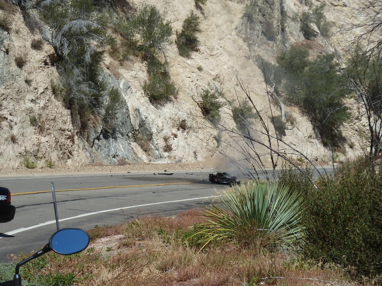 Burning motorcycle on Angeles Crest