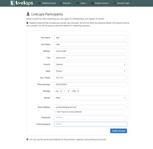 LiveLaps Account Create