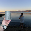 Toasting with scotch on our first night at Clear Lake, CA.