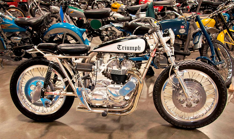1965 Triumph 650 Trackmaster. I don't like shooting out on the floor where I can't control the lighting, but this bike was really special.