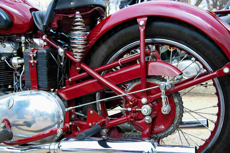 1953 Triumph 5T Speedtwin 500 cc. A study in hardtail complexity, beautifully restored.