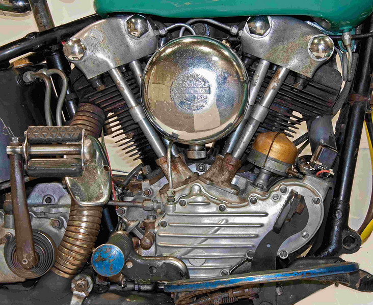 1947 Harley-Davidson Knucklehead 74 ci. Campaigned for many years by the owner's father as a stunt bike. Picture doing jumps with an 800 pound behemoth. Owned by Mike Heath.