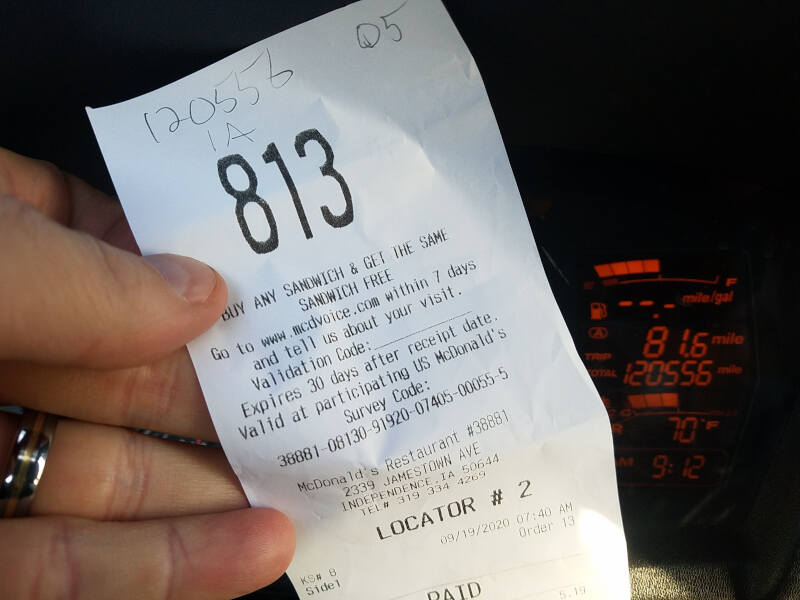 Iowa receipt