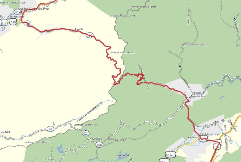 map of Trail of the Lonesome Pine
