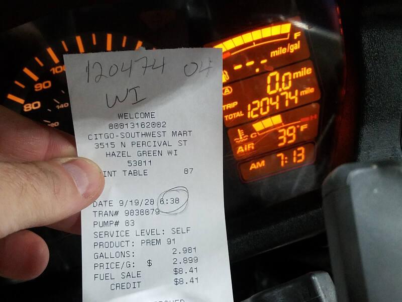 Wisconsin receipt