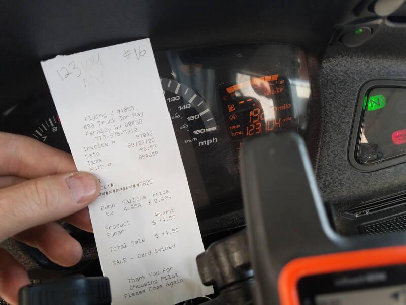 Nevada receipt