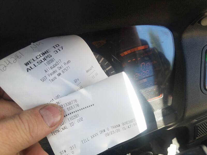 New Mexico receipt