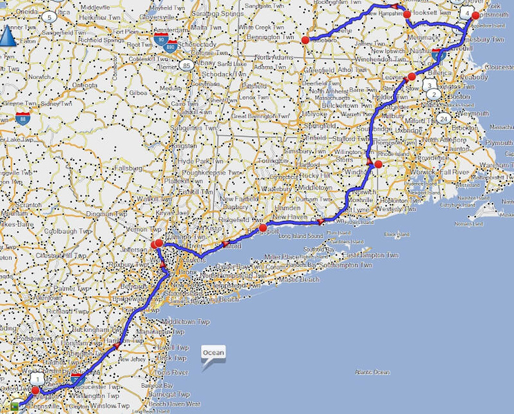 map of Day 9 route