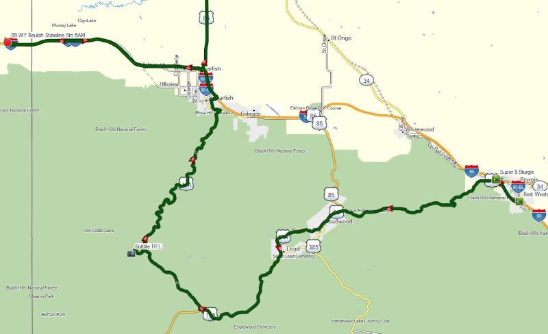map of Black Hills side trip