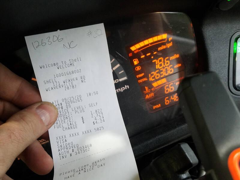 North Carolina receipt