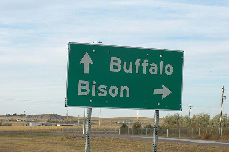 Buffalo Bison road sign
