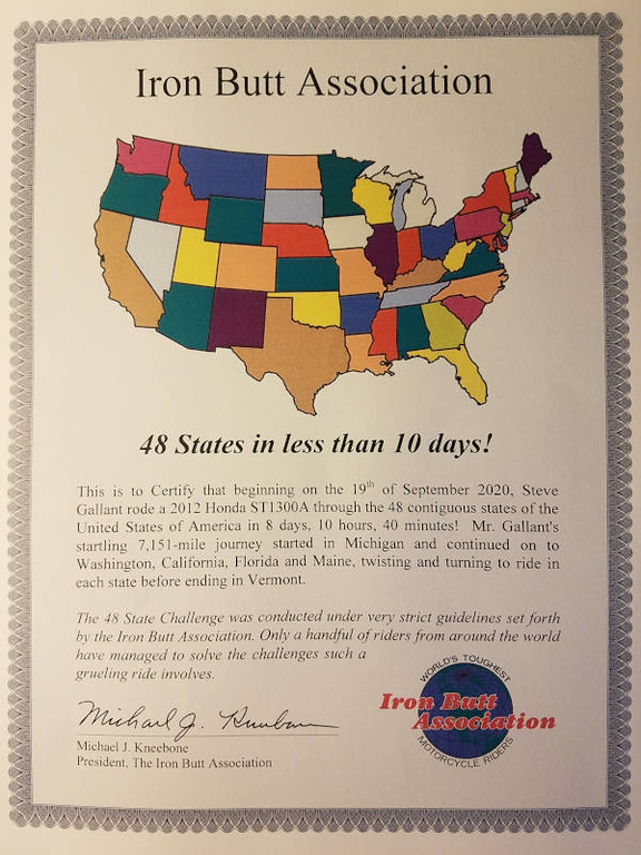 48 States Challenge certificate