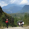 Picture showing our road ahead through the Canadian mountains.  Nothing better on a sunny warm day.