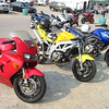 Our bikes - Mike's VFR, Jason's SV, and my Strom.  Nice primary color selection, eh?