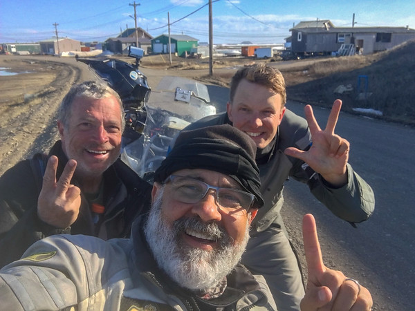 1st, 2nd and 3rd bikers to make it up the Dempster and into Tuk, ever!