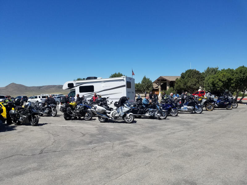 rally bikes in parking lot