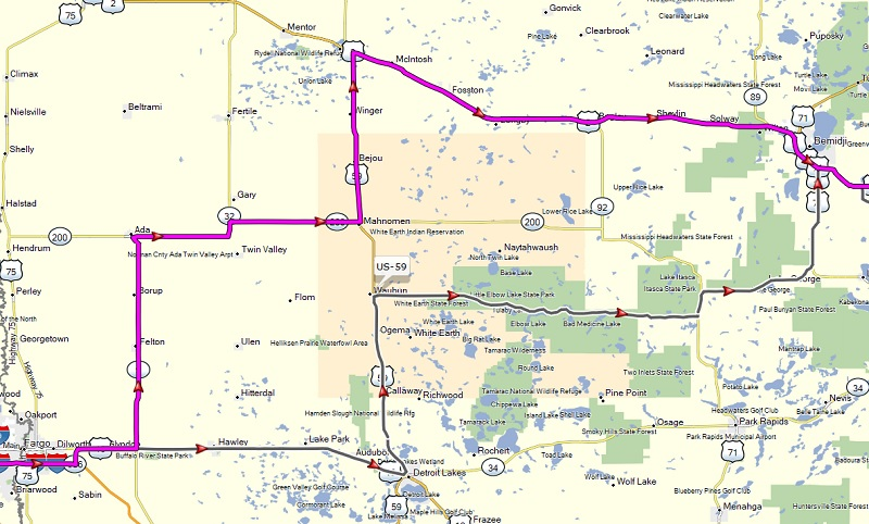 map of intended and actual route in MN