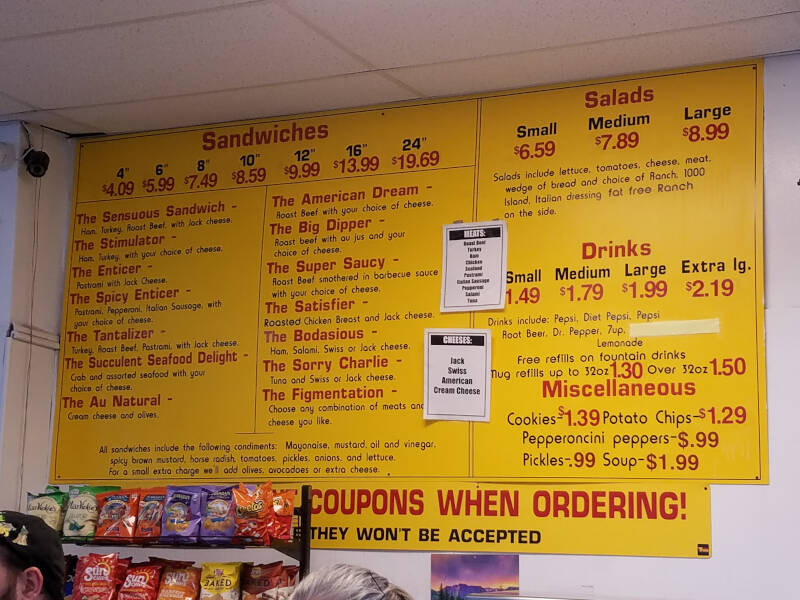 wall menu at Sensuous Sandwich