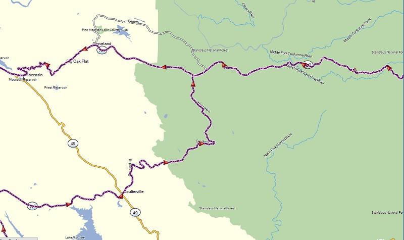 map of curvy roads to Yosemite