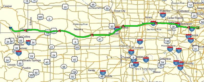 map of travel day 2 route