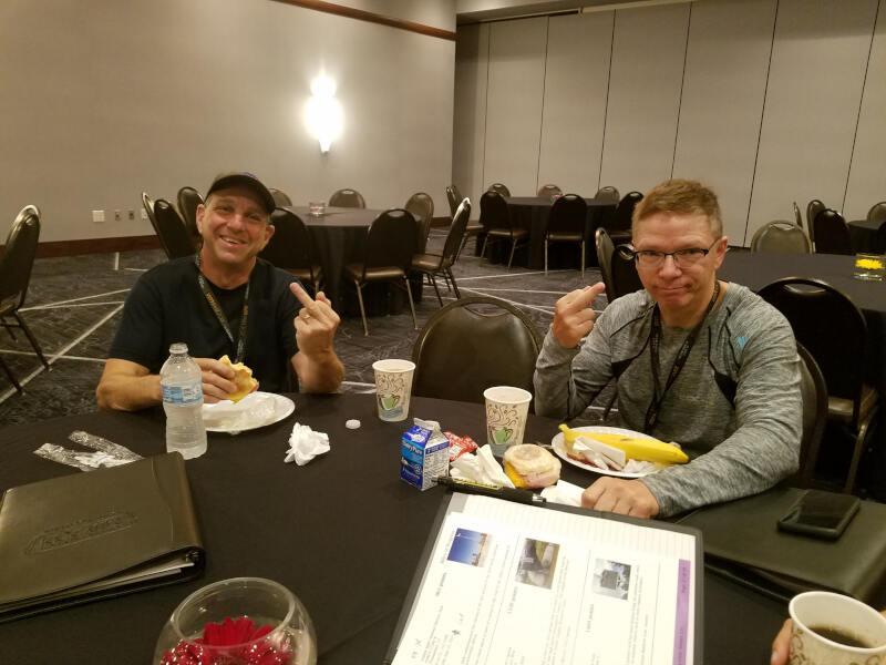 riders at breakfast