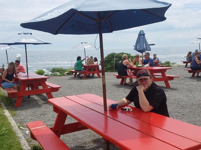picnic tables at Lobster Shack
