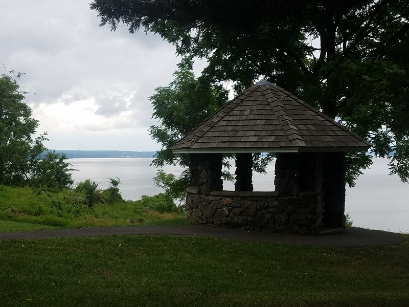 view of Hudson from gazebo in Stony Point Park