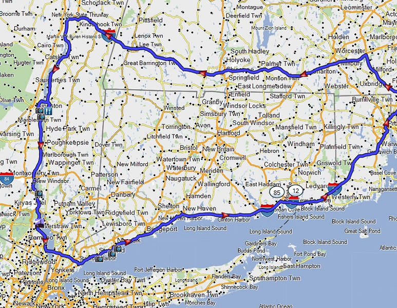 map of todays ride