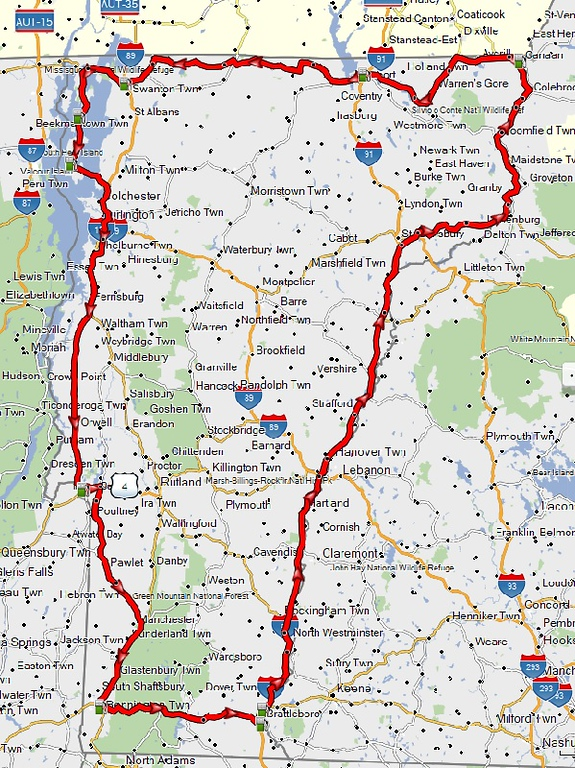 route plan map for Ride Around Vermont