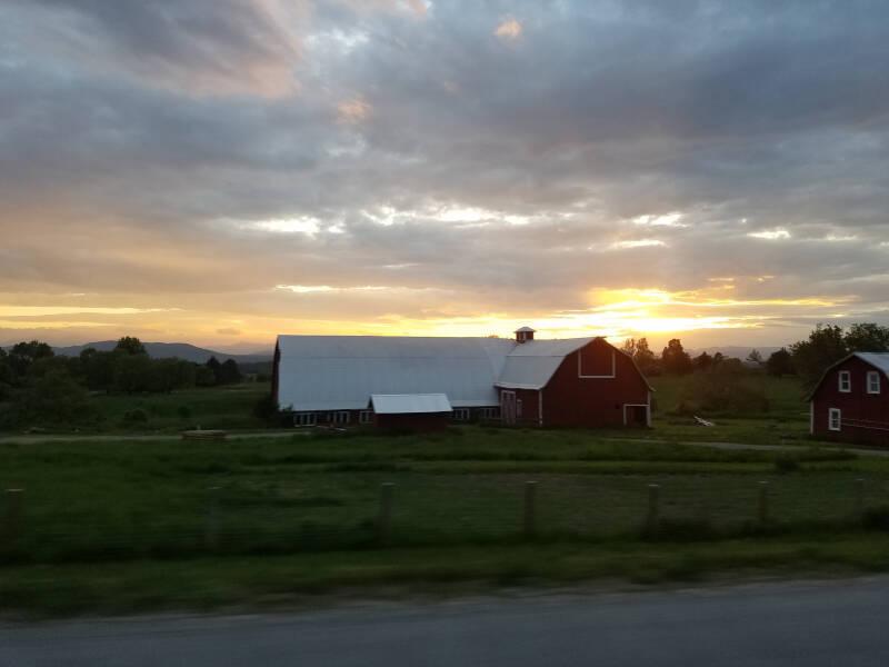 sunset over the Adirondacks from Shelburne VT
