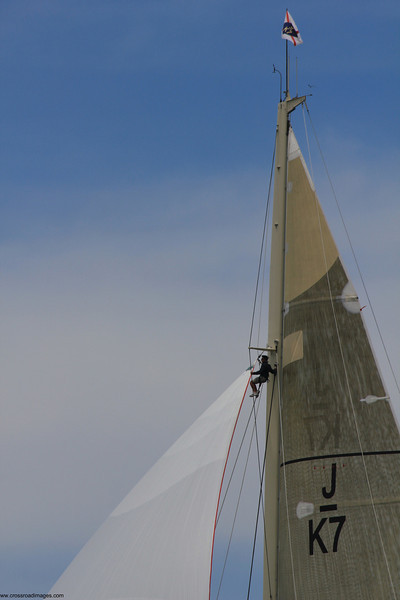 Ranger was beset by sail problems.
