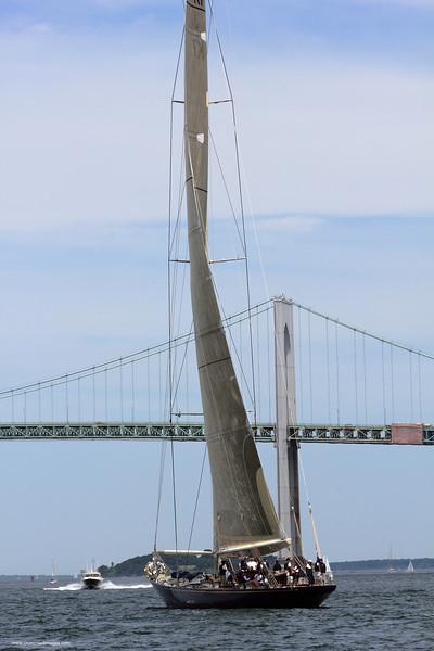 Velsheda and the Jamestown Bridge.