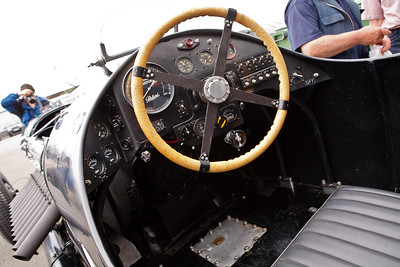 "Chris Williams' Packard-Bentley, ""Mavis"", powered by a 42 litre Packard V12 aero engine, developing 1500 bhp.  Mavis is based on a 1930 Bentley 8-litre chassis.  The steering column is offset and at an angle to clear the huge engine."