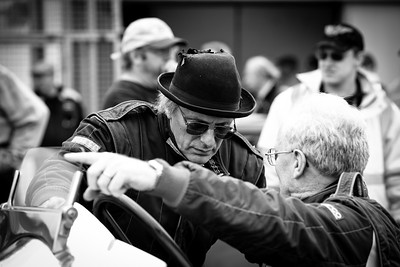 "Chris Williams, owner of the 42 litre Packard-Bentley, ""Mavis"", chats to the driver of the 24 litre Napier-Railton prior to the demonstration run."