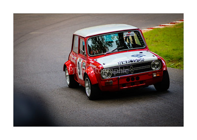 Mini powering out of a turn at Shelsley Walsh