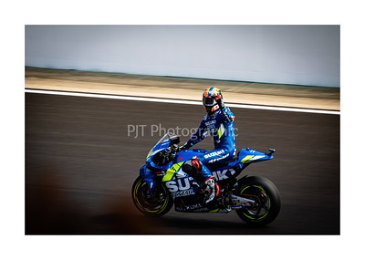 Alex Rins celebrating his win at Silverstone
