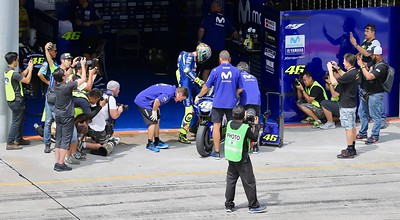 Valentino Rossi and Movistar Yamaha MotoGP during day one of official MotoGP testing at Sepang International Circuit, Malaysia 28th January 2018. Photo by John Stewart/SportDXB