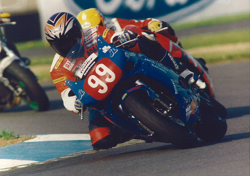 Leading my friend, the late Colin Gable at the British Production Championship race at Donington Park in 1997. Jack Lilley Racing Triumph T595