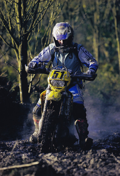 Battling the mud at the Ceri Forest Enduro, North Wales. 2002. Gas Gas EC200