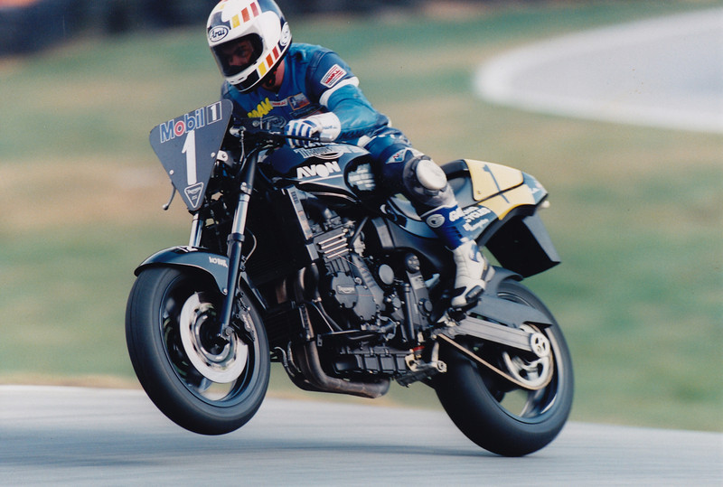 First time out in the Mobil 1 Triumph Speed Triple Challenge. Cadwell Park, 1995. Neil Young Motorcycles